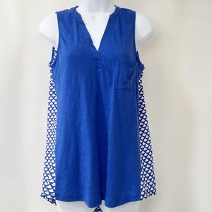 🆕 Anthropologie Blue Mixed Media Sleeveless Top